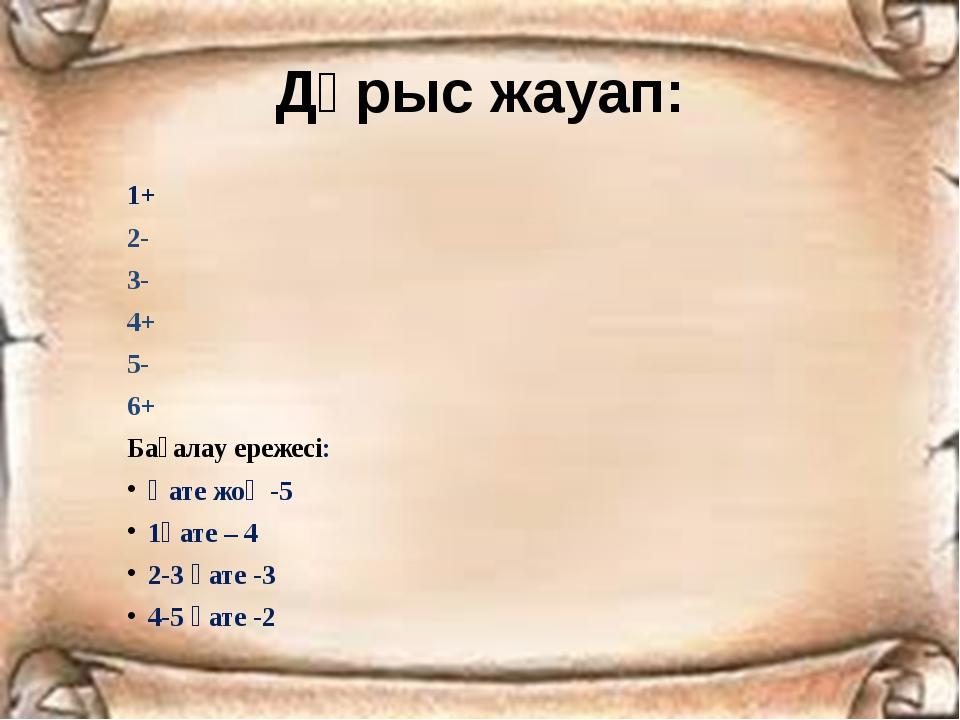 Дұрыс жауап: 1+ 2- 3- 4+ 5- 6+ Бағалау ережесі: Қате жоқ -5 1қате – 4 2-3 қат...