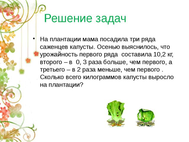 Решение задач На плантации мама посадила три ряда саженцев капусты. Осенью вы...
