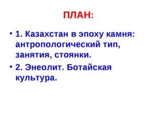 ПЛАН: 1. Казахстан в эпоху камня: антропологический тип, занятия, стоянки. 2.