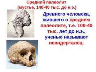 Средний палеолит (мустье, 140-40 тыс. до н.э.) Древнего человека, жившего в с