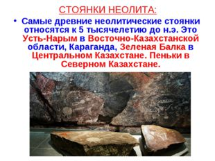СТОЯНКИ НЕОЛИТА: Самые древние неолитические стоянки относятся к 5 тысячелети