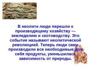 В неолите люди перешли к производящему хозяйству — земледелию и скотоводству