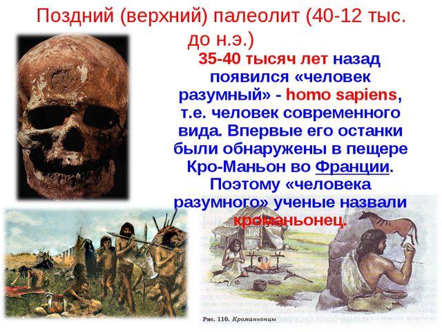 Поздний (верхний) палеолит (40-12 тыс. до н.э.) 35-40 тысяч лет назад появилс...