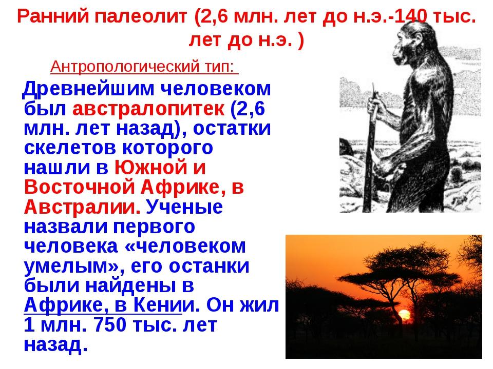 Ранний палеолит (2,6 млн. лет до н.э.-140 тыс. лет до н.э. ) Антропологически...