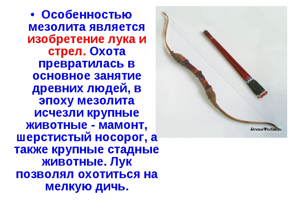 Особенностью мезолита является изобретение лука и стрел. Охота превратилась в...