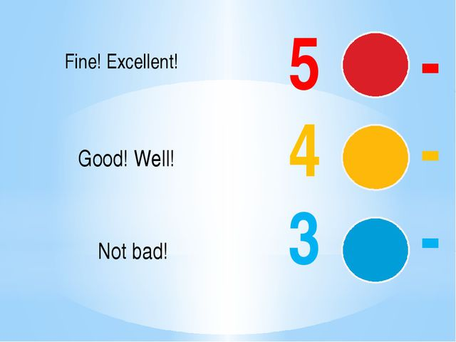 5 - 4 - 3 - Fine! Excellent! Good! Well! Not bad!