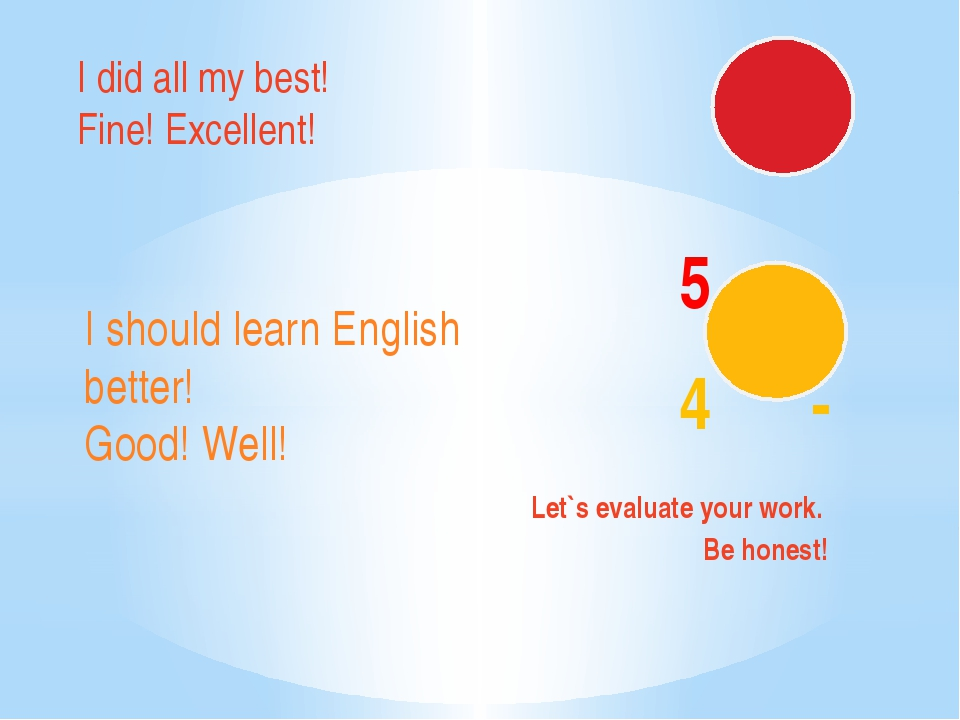 5 - 4 - Let`s evaluate your work. Be honest! I did all my best! Fine! Excell...
