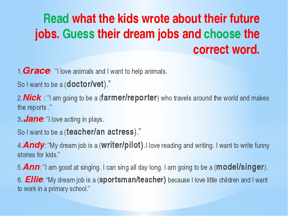 Read what the kids wrote about their future jobs. Guess their dream jobs and...