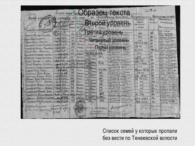 Список семей у которых пропали без вести по Тенеевской волости