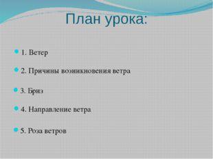 План урока: 1. Ветер 4. Направление ветра 3. Бриз 5. Роза ветров 2. Причины в