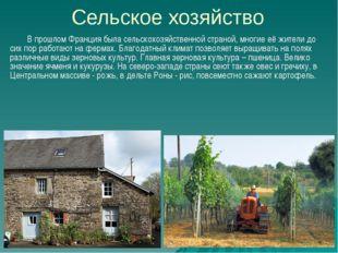 Сельское хозяйство В прошлом Франция была сельскохозяйственной страной, многи