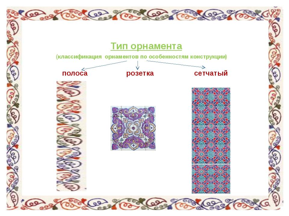 Тип орнамента (классификация орнаментов по особенностям конструкции) полос...