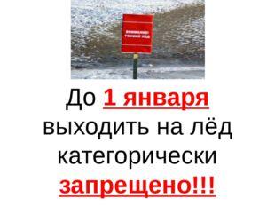 До 1 января выходить на лёд категорически запрещено!!!
