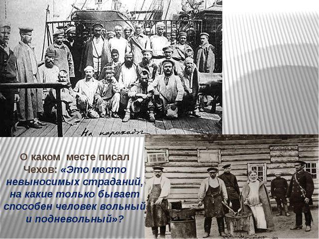 О каком месте писал Чехов: «Это место невыносимых страданий, на какие только...