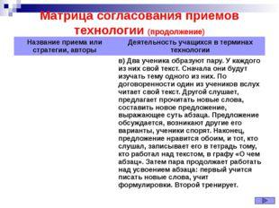 Матрица согласования приемов технологии (продолжение) Название приема или стр