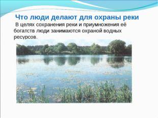 Что люди делают для охраны реки В целях сохранения реки и приумножения её бог