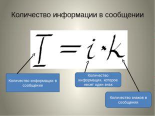 Количество информации в сообщении Количество информации в сообщении Количеств