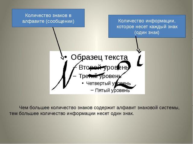 Количество знаков в алфавите (сообщении) Количество информации, которое несет...