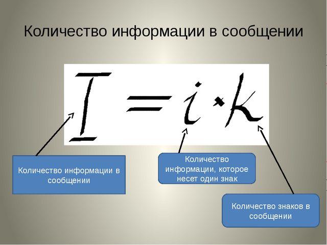 Количество информации в сообщении Количество информации в сообщении Количеств...