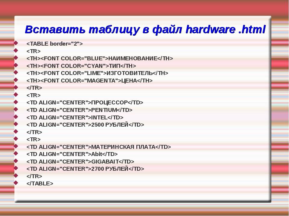 Вставить таблицу в файл hardware .html   НАИМЕНОВАНИЕ ТИП ИЗГОТОВИТЕЛЬ ЦЕНА...