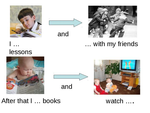 I … lessons … with my friends and After that I … books watch …. and