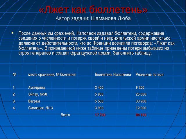 «Лжет как бюллетень» Автор задачи: Шаманова Люба После данных им сражений, На...