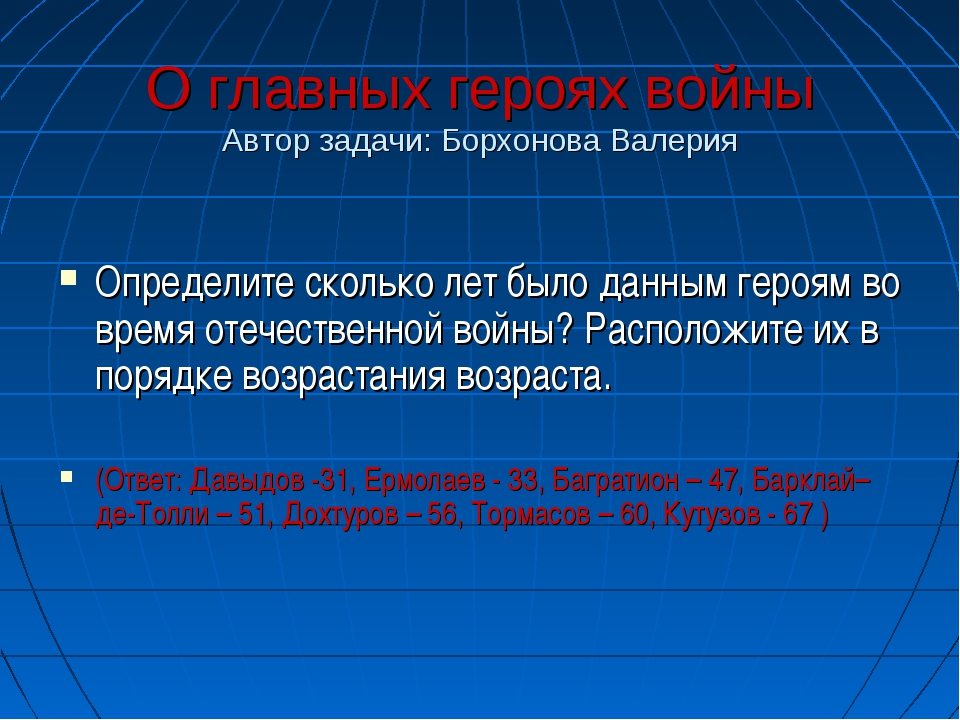 О главных героях войны Автор задачи: Борхонова Валерия Определите сколько лет...