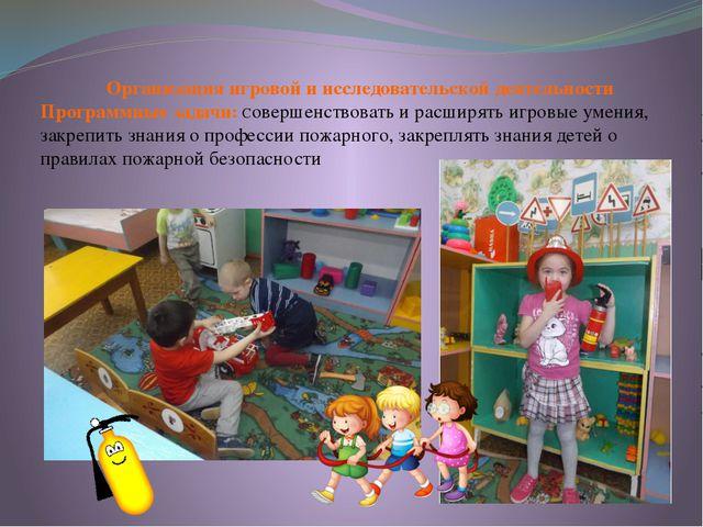 Организация игровой и исследовательской деятельности Программные задачи: Сов...