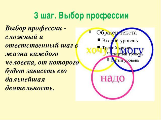 3 шаг. Выбор профессии Выбор профессии - сложный и ответственный шаг в жизни...