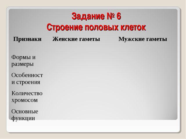 Задание № 6 Строение половых клеток ПризнакиЖенские гаметы Мужские гаметы Ф...