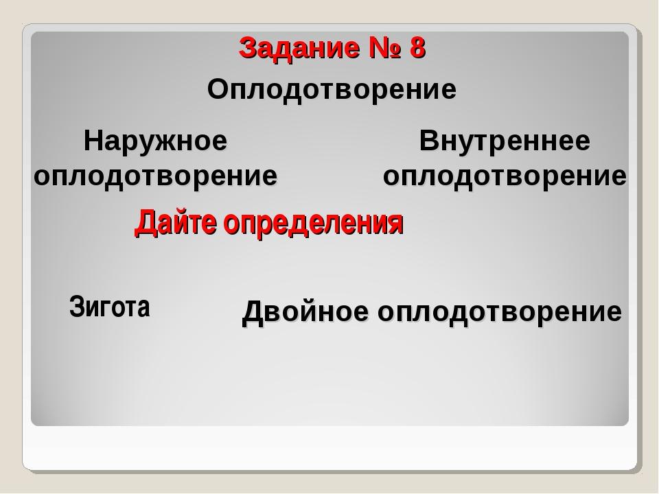 Дайте определения Задание № 8 Оплодотворение Зигота Наружное оплодотворение В...