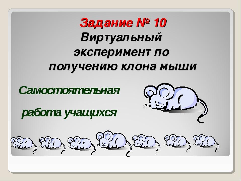 Задание № 10 Виртуальный эксперимент по получению клона мыши Самостоятельная...