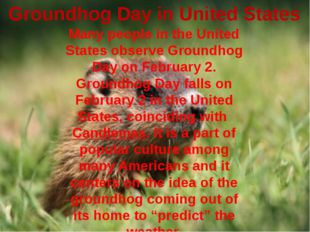 Groundhog Day in United States Many people in the United States observe Groun