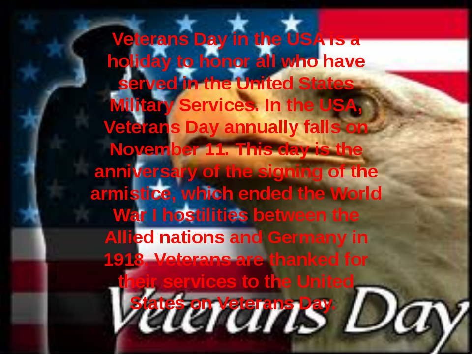 Veterans Day in the USA is a holiday to honor all who have served in the Unit...