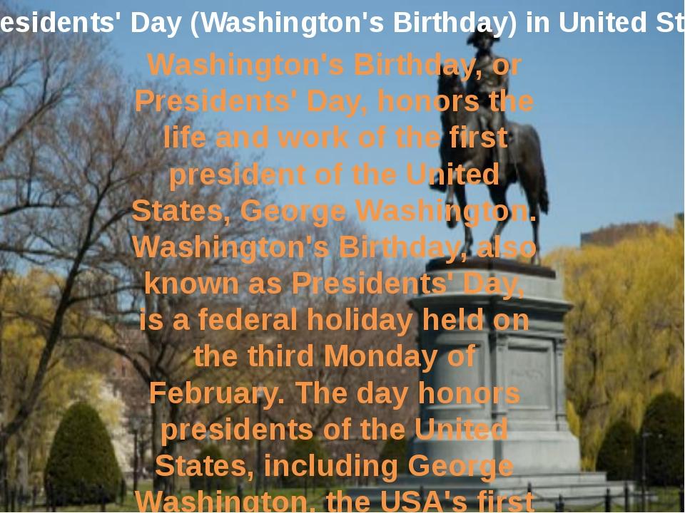 Presidents' Day (Washington's Birthday) in United States Washington's Birthda...