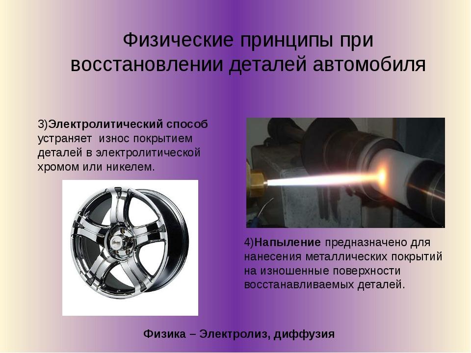 Физические принципы при восстановлении деталей автомобиля 3)Электролитический...