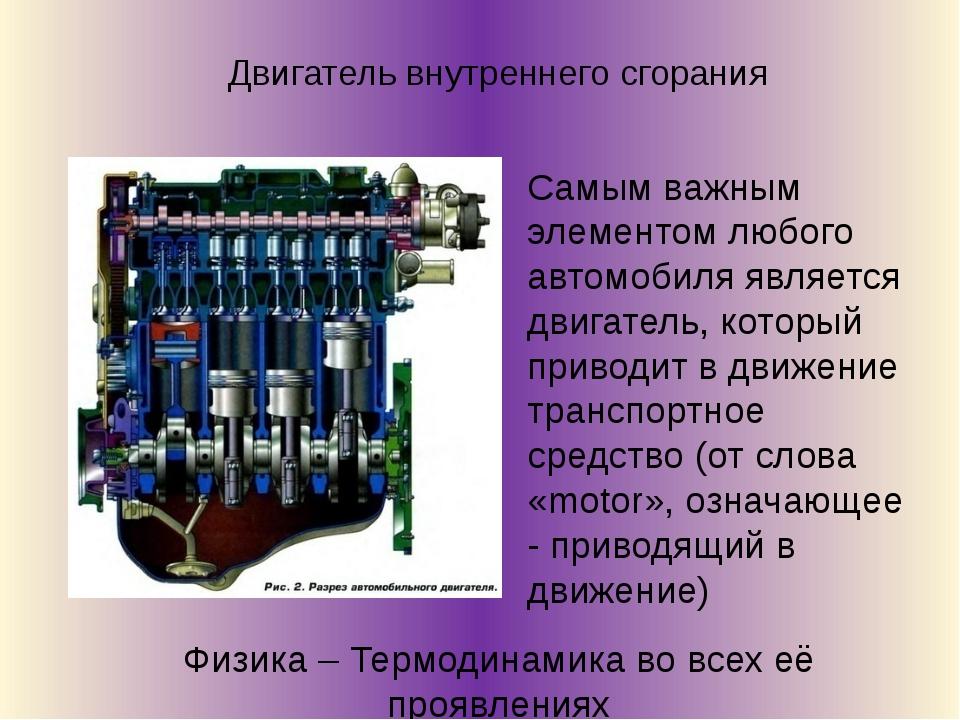 Самым важным элементом любого автомобиля является двигатель, который приводит...