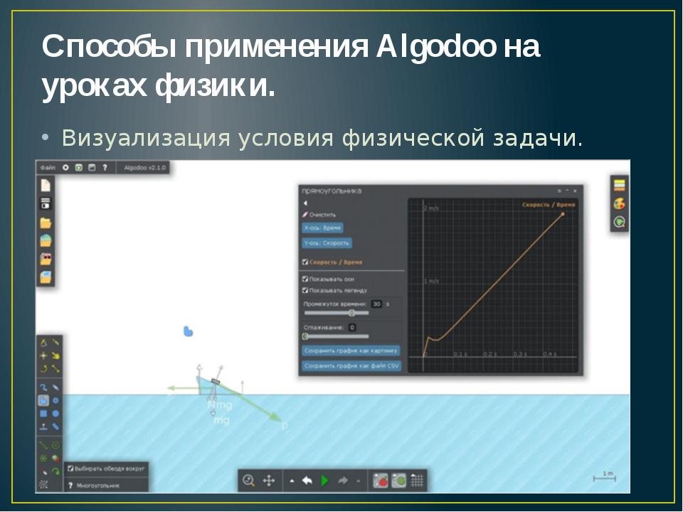 Способы применения Algodoo на уроках физики. Визуализация условия физической...