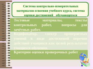 Система контрольно-измерительных материалов освоения учебного курса, система