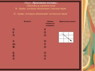 Игра «Крестики-нолики» Обозначь в игровом поле: Х - буквы, которые обозначают