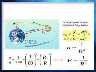 Центростремительное ускорение Луны равно: 2. Зависимость силы тяготения от ра