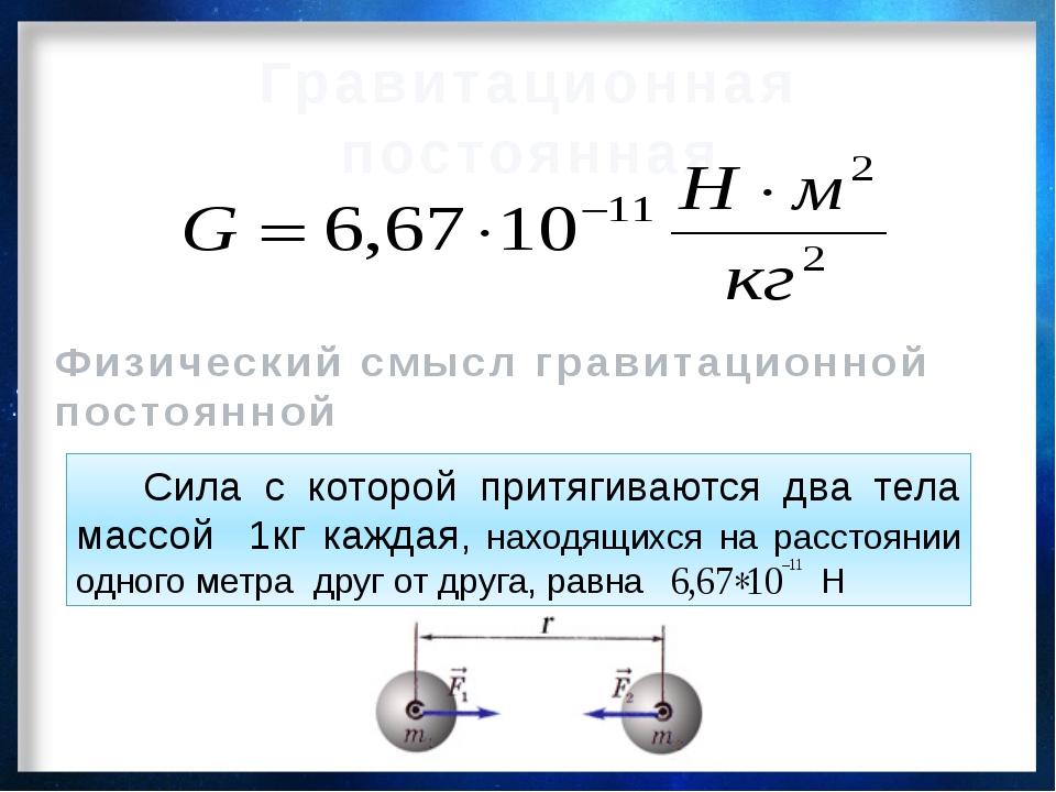 Гравитационная постоянная Физический смысл гравитационной постоянной Сила с к...