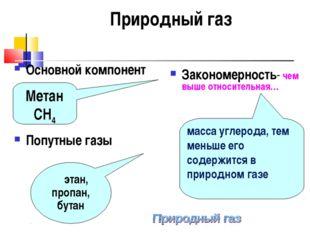этан, пропан, бутан Природный газ Основной компонент Попутные газы Закономер