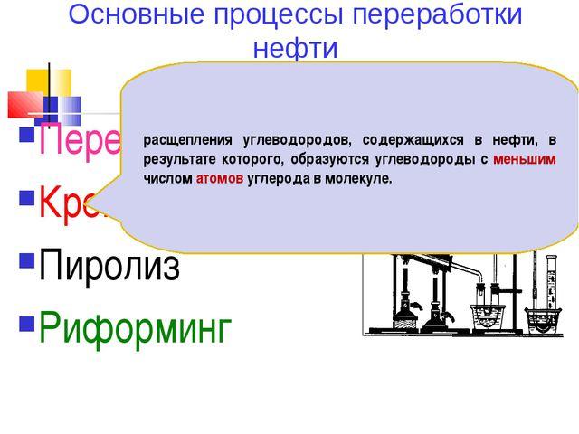 Основные процессы переработки нефти Перегонка Крекинг Пиролиз Риформинг расще...