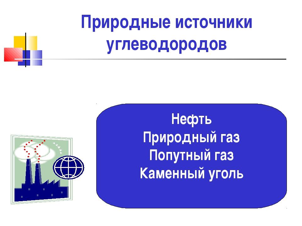 Природные источники углеводородов Нефть Природный газ Попутный газ Каменный у...