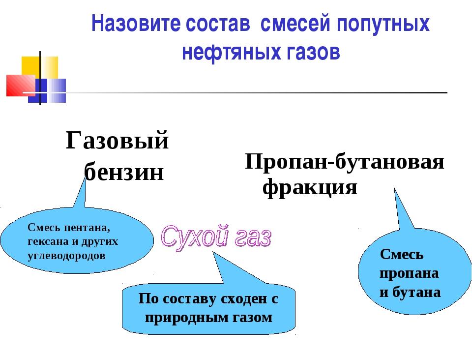 Назовите состав смесей попутных нефтяных газов Газовый бензин Пропан-бутанов...
