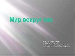 Мир вокруг нас Учитель 1 «Б» класса МБОУ СОШ № 177 Пигачёва Светлана Владимир