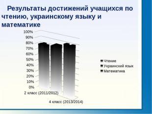 Результаты достижений учащихся по чтению, украинскому языку и математике