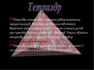 Тетраэдр составлен из четырех равносторонних треугольников. Каждая его вершин
