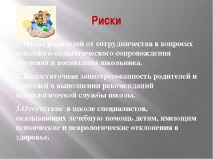 Риски 1. Отказ родителей от сотрудничества в вопросах психолого-педагогическо